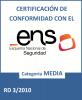 Certificado de conformidad con el ENS de Servicios TIC de la DGAD.